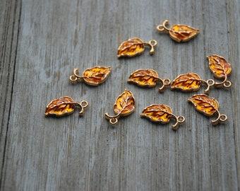 "4 Acrylic Open Leaf Charms BUTTERSCOTCH Terrazzo Yellow 2.5/"" chs5814"