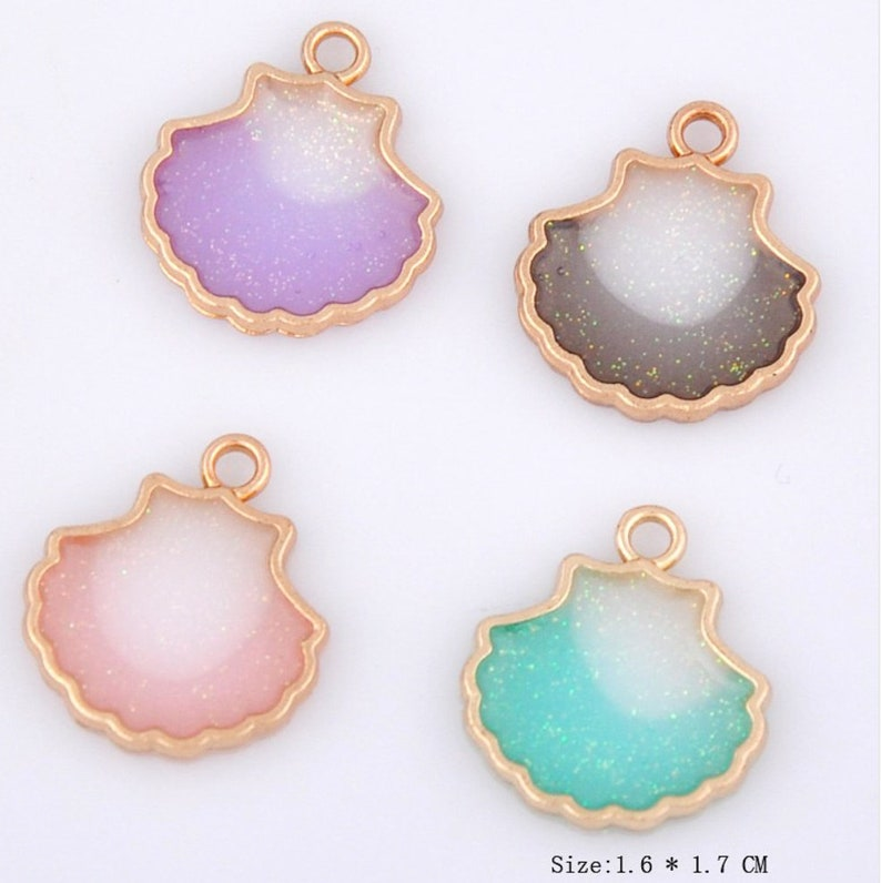 Ocean Charms Necklace Charms Resin Charms Gold Charms Beach Charms Shell Charm Seashell Charm Sea Scallop Charm Bracelet Charms