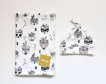 Swaddle Blanket / Woodland Swaddle Blanket / Receiving Blanket / Nature Swaddle Blanket / Baby Boy Gift / Swaddle Set / Woodland Animals