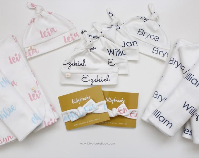 Featured listing image: Personalized Swaddle Gift Set