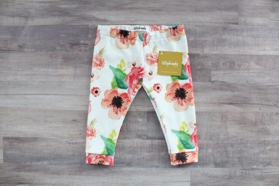c7cc838d9c20 Red Floral Baby Leggings   Organic Cotton Leggings   Baby