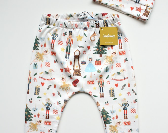 Featured listing image: Christmas Baby Leggings / Gender Neutral Christmas Baby / Baby Pants /  Christmas Baby Gift / Nutcracker