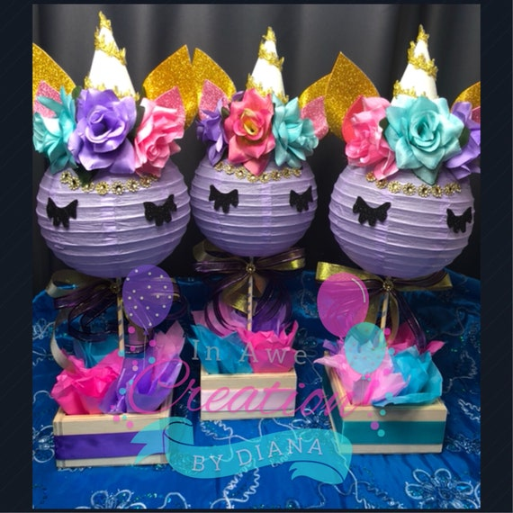 Purple Unicorn With Gold Bling Centerpiece Happy Birthday