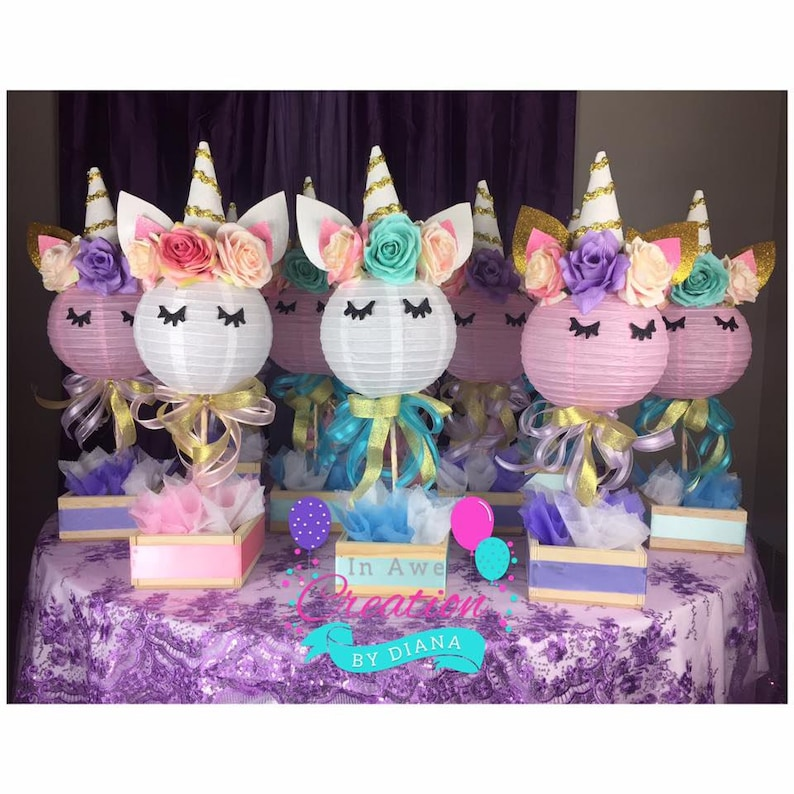 1 Unicorn Centerpiece Happy Birthday Unicorn Centepiece Etsy