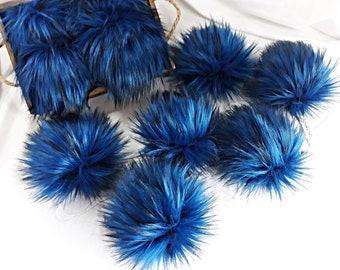 AZURITE Blue Black Faux Fur Pom   Small Medium Large   Dark Blue Fake Fur Pom Pom   Navy Vegan Friendly Pom   Fun Color Cruelty Free Pom