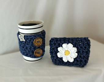 Daisy Cup Cozy, Reusable Coffee Cup Sleeve, Hot Cold Crochet Coffee Cozy, Eco Friendly Cotton Cup Cozy, Housewarming Gift, Teachers Gift
