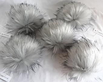 SABREWULF Silver Grey with Black Tufts Faux Fur Pom   Small Medium Large   Light Smokey Gray Fake Fur Pom   Vegan Friendly Cruelty Free Poms