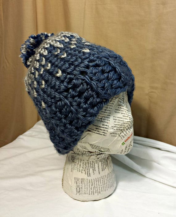 04a9d238aea Chunky Knit Crochet Slouch Beanie Pom Pom Grey Blue Winter