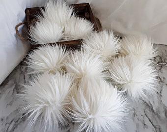 CREAM Off-White Faux Fur Pom   Small Medium Large Fake Fur Hat Topper   Vegan Friendly, Cruelty Free   Gypsy Dreamer