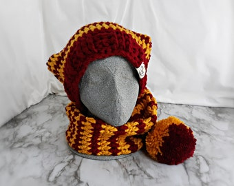 Oversized Wizarding Stocking Cap Cowl   Extra Long Magic House Color Scarf   Cottage Core Pixie Costume   Team Color Holiday Stripe Hat