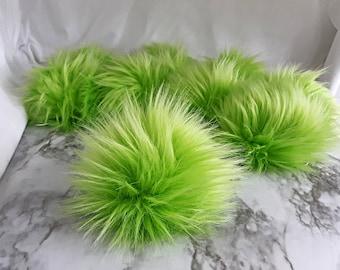 LIME Green Faux Fur Pom   Bright Neon Fun Color Fake Fur Pom   Small Medium Large   Cruelty Free, Vegan Friendly   Gypsy Dreamer Poms