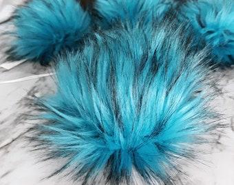 TEAL Faux Fur Pom   Blue Aqua Small Medium Large    Vegan Friendly, Cruelty Free  Fake Fur Fun Color Pom   Gypsy Dreamer Poms