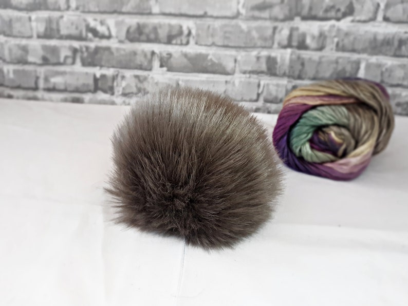 Natural Color Cruelty Free Pom Vegan Friendly Neutral Pom Pom PEWTER Short Hair Faux Fur Pom Pom Fake Fur Pom Pom Small Medium Large