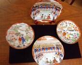 Four Colorful Geisha Plates Lot, Hand Painted Japanese Porcelain
