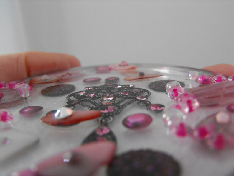 Artistic Home Decor Ornament Bejeweled Pink Kundan Rhinestones 3-D Beaded Art Piece
