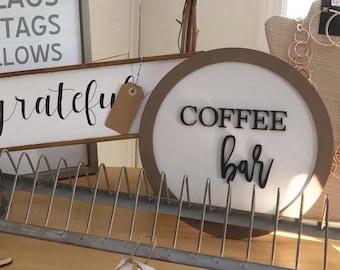 Coffee Bar Sign. Circle Coffee Bar. Coffee Lover. Coffee Kitchen Sign. But First Coffee.