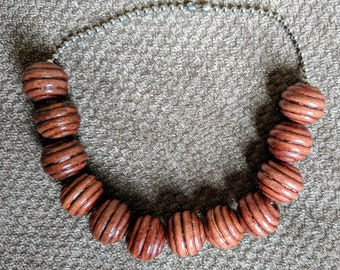 Wood Bead Anklet-Ribbed Wood Bead Anklet-12 Wood Bead Anklet-Medium Brown Wood Bead Anklet-Casual Anklet-Comfortable Anklet to Wear-Natural