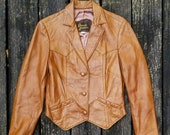 80s Windbreakers, Jackets, Coats Vintage Leather Jacket David James Tailored Leather Coat Fitted Caramel Leather Jacket Made in USA Size Small $58.00 AT vintagedancer.com