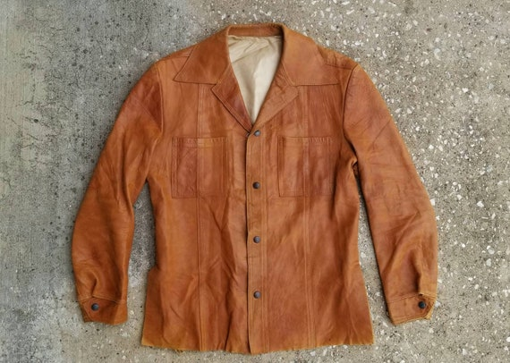 1970's Leather Shirt Jacket, Vintage Brown Leather