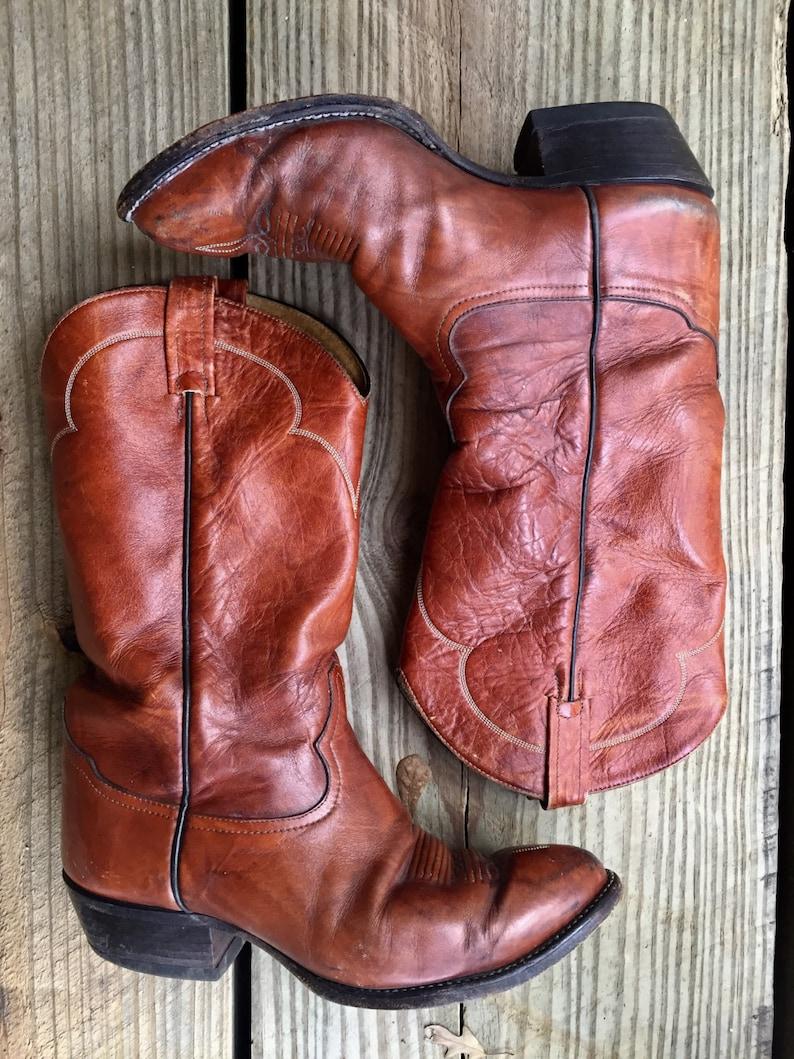 5ef1f046075 Vintage Tony Lama Cowboy Boots, Congac Leather, Mens Size 8.5, 1980's