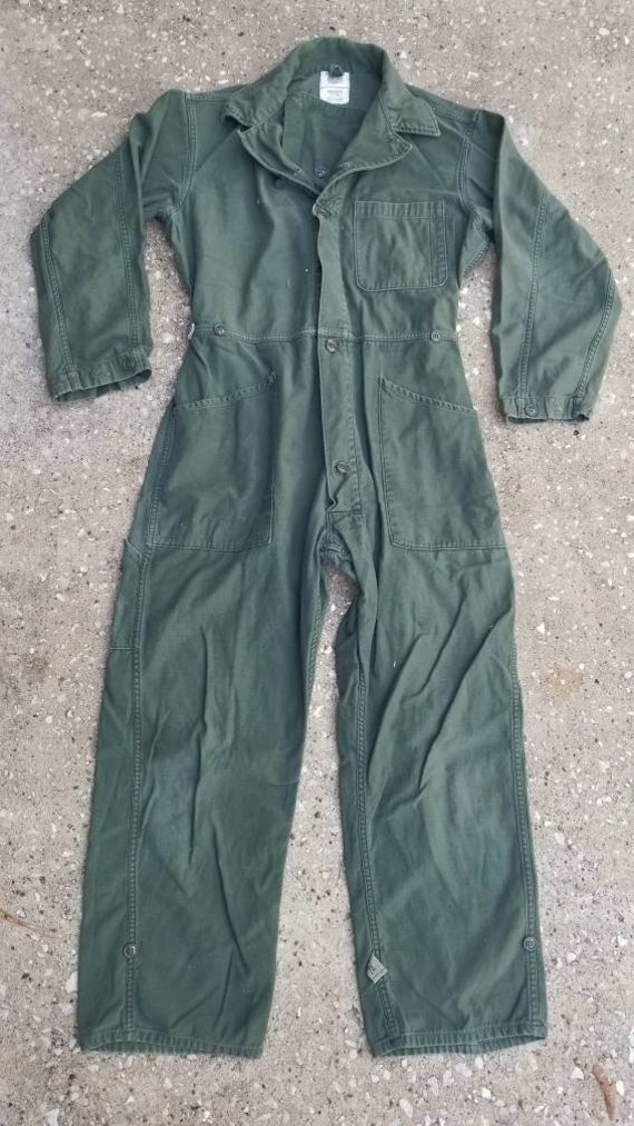 Vintage army green coveralls, vintage coveralls, 1