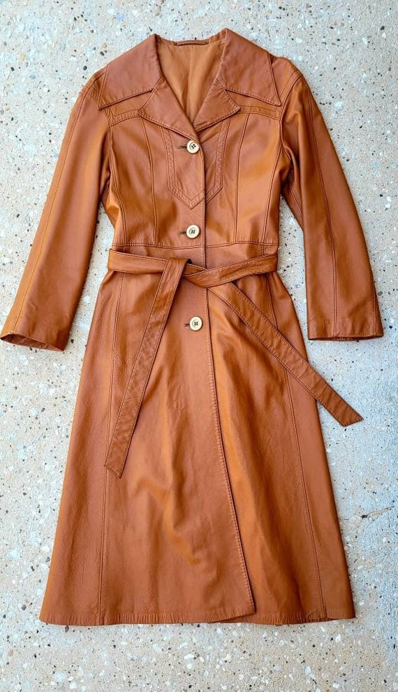 1970's Leather Trench Coat, Caramel Brown Leather