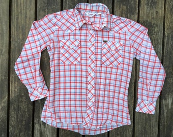 Vintage Western Snap Shirt, THIN, Size Large, Poly Blend