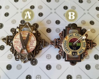 Stitch: Steampunk Inspired Sewing Themed Brooches