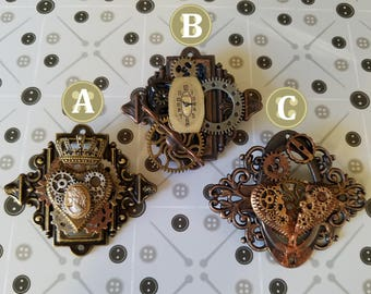 TickTock: Steampunk Inspired Clockwork Themed Brooches