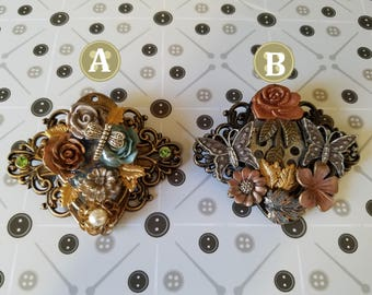 Bloom: Steampunk Inspired flower Themed Brooches