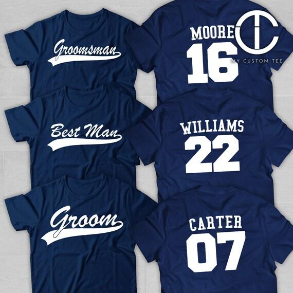 7 chemises de garçons d'honneur - Bachelor Party avec numéro lot - Baseball sport thème - garçon d'honneur - lot numéro de 7 T-Shirts Tee personnalisé personnalisables bca6b5