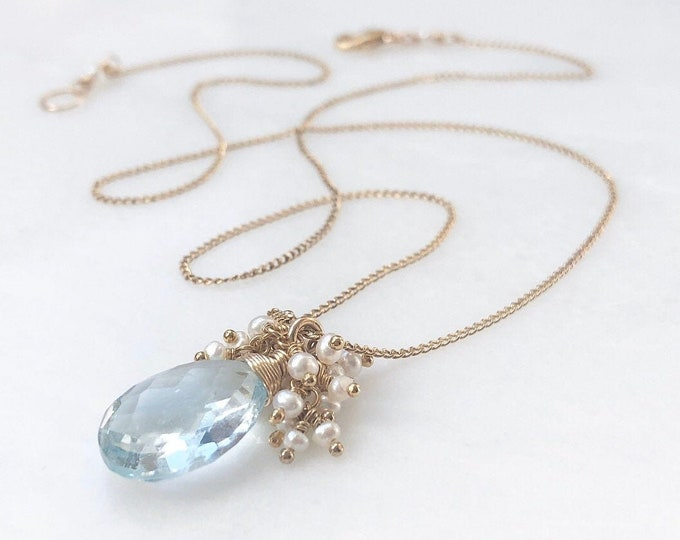 Faceted Aquamarine and Petite Pearl Cluster Pendant Necklace - 14kt Gold Fill