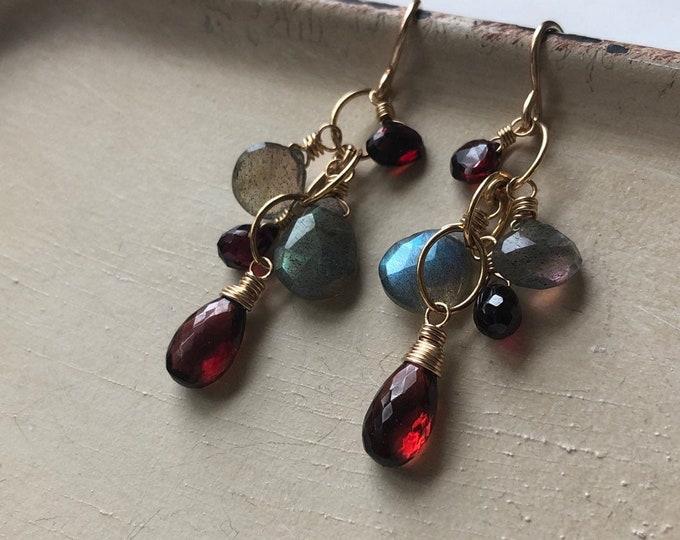 LUXE Garnet and Labradorite Gemstone Dangle Earrings - 14kt Gold Fill, Stunning Gemstones, OOAK Design