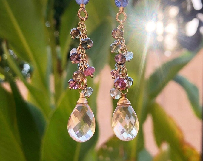 Wire-Wrapped Oregon Sunstone Earrings with Rainbow Tourmaline Clusters and Fancy-Wrapped Iolite Gemstones, 14kt Gold Fill
