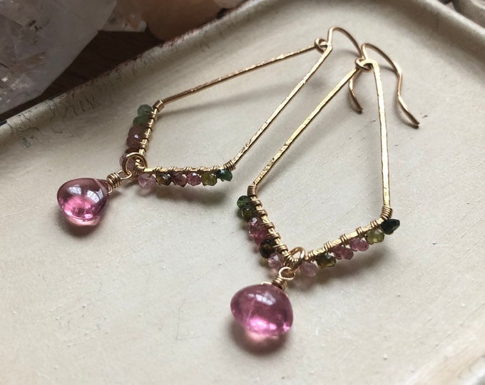 LUXE Tourmaline Wrapped 14kt GF Kite-Shaped Frames Earrings with Smooth Watermelon Tourmaline Gemstone Drops
