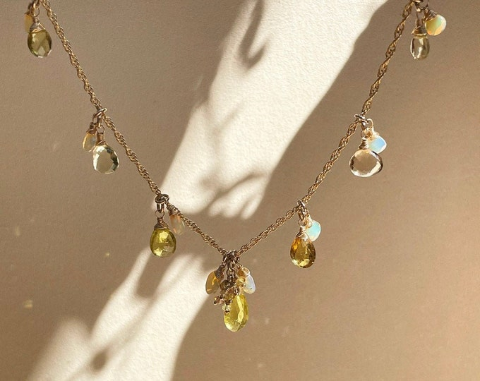 Honey Drops Luxurious Gemstone Necklace, Flashy Opals, Champagne Citrine, Tourmaline, and Sapphire, 14kt Gold Filled