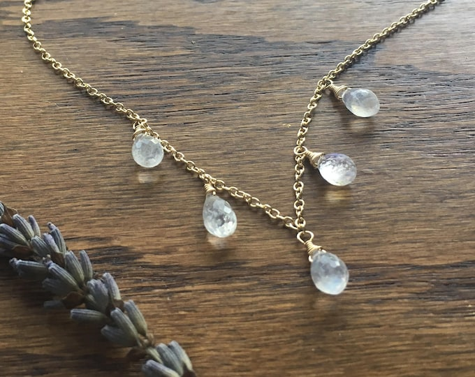 Moonstone Drops Necklace in Gold - Hand-Wrapped Rainbow Moonstone Briolettes on 14kt Gold-Filled Chain
