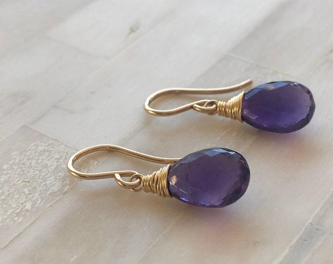 AAA Amethyst Briolette Earrings, Dainty Wire-Wrapped Gemstone Dangles, Gold Filled