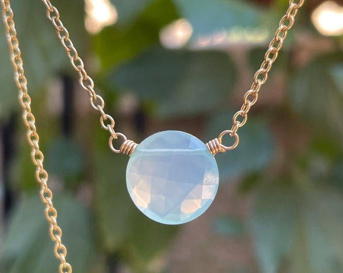 Aqua Chalcedony Coin Necklace - Micro-Faceted Gemstone Pendant on 14kt Gold Filled Chain