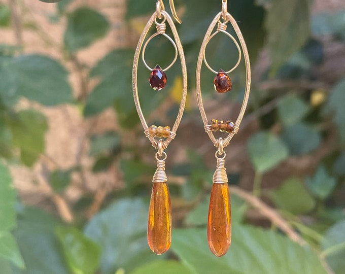 Wire-Wrapped Orange Kyanite and Marquise-Shaped Frames Earrings, Sapphire Gemstone Accents