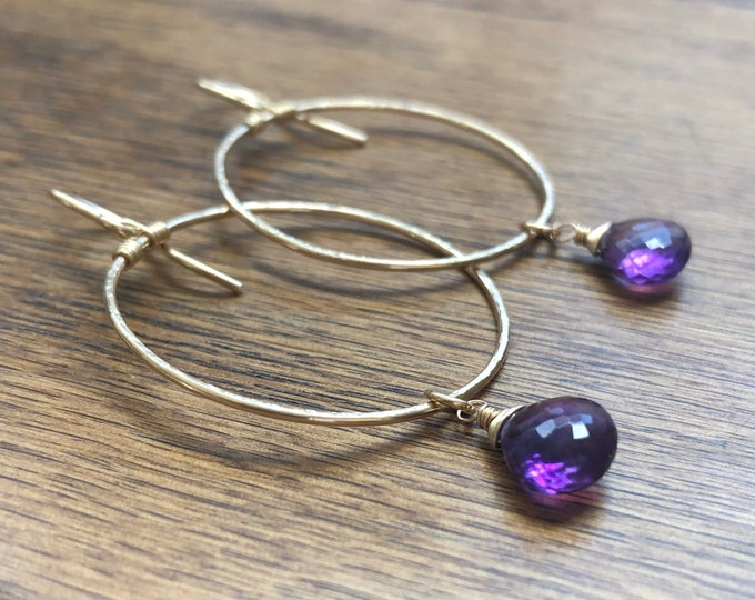Shimmery Gold Hoops with Wire-Wrapped Amethyst Gemstones, 14kt Gold Fill