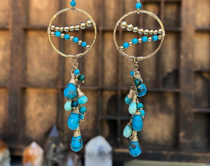 Genuine Turquoise and Gold Beaded Chandelier Earrings with Wire-Wrapped Turquoise Gemstone Cascades, 14kt GF