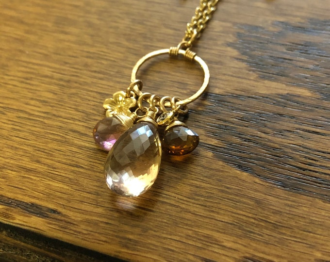 "Luxe Ametrine Solitaire and ""Spring Bouquet"" Charm Necklace, Wire-Wrapped Gemstones on Dainty Gold-Filled Chain"