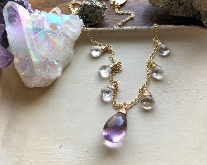 Ametrine and White Topaz Necklace - Luxe Gemstones on 14kt Gold-Filled Chain