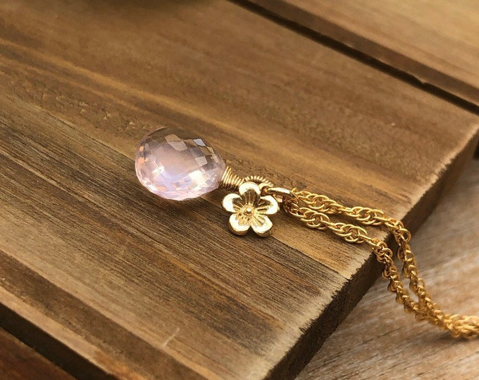 Fancy Wrapped Rose Quartz Puffed Drop Necklace with Petite Gold Flower Charm, 14kt Gold Filled