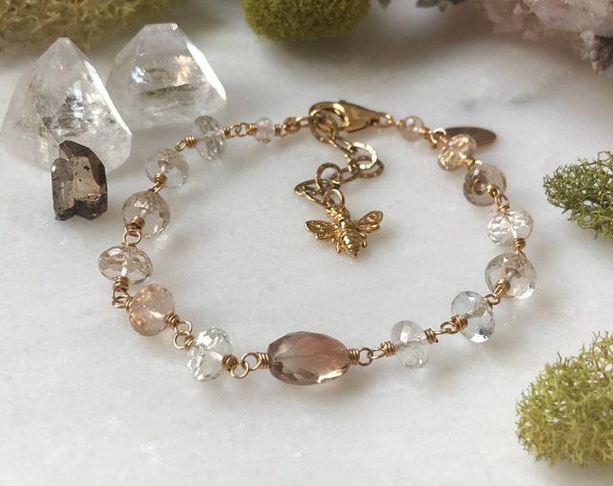 Luxurious Honeybee Bracelet - Topaz and Sunstone Gemstone Links, 14kt GF Accents