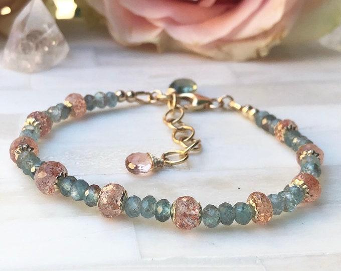 Apatite and Oregon Sunstone Bracelet, 14kt Gold-Filled Accents