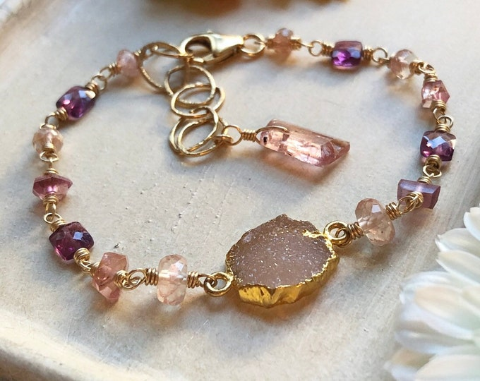 Pink Tourmaline, Oregon Sunstone, and Rhodolite Garnet Bracelet - 14kt Gold Fill, Wire-Wrapped Gemstone Chain Bracelet
