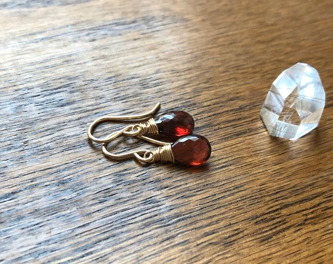 Garnet Gemstone Drop Earrings - Wire Wrapped Dainty Gemstone Dangles, 14kt GF