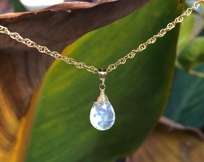 Flashy Moonstone Briolette Necklace, Dainty Gemstone Pendant on 14kt Gold Filled Chain